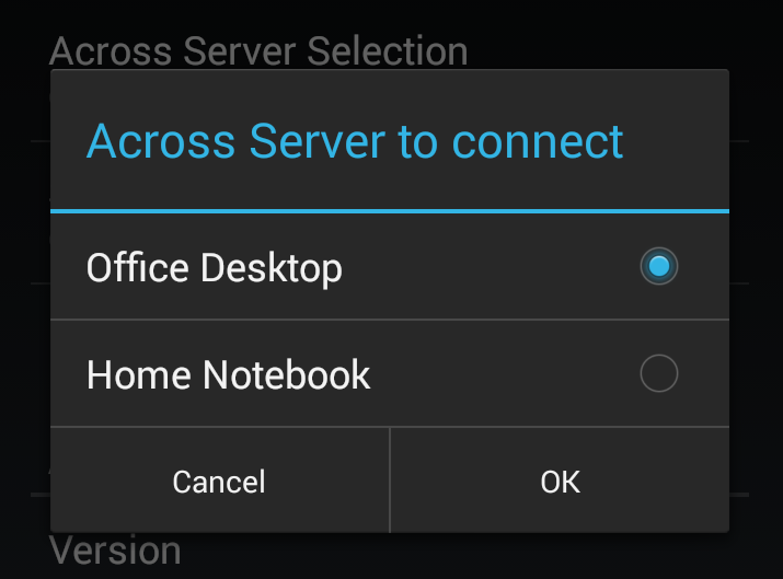 Across Server Selection on a Client Device