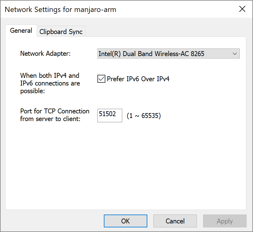 Network Setting1 for Across Client