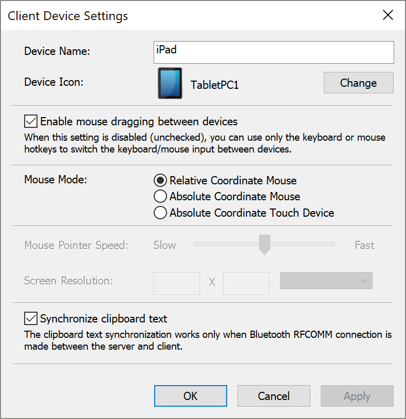 Client Device Settings Dialog